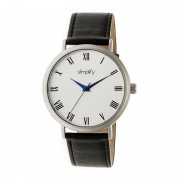 Simplify The 2900 Leather-Band Watch - Silver/Black SIM2901