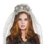 Amscan Diadema de velo de calavera de novia fantasma, 3 unidades