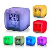 Ceas Cub Multicolor cu Calendar , Termometru si Alarma