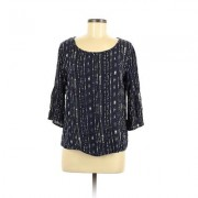 Famous Forever Long Sleeve Top Blue Stripes Scoop Neck Tops - Used - Size Medium