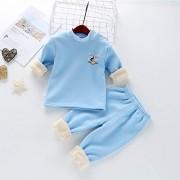donfonhyx989u7 Ropa Interior térmica para niños, con Traje de Terciopelo para otoño e Invierno, diseño de Conejo Qiuyiqiuku, Azul Espejo, 90cm
