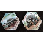 India 2008 Giant Aldabra Tortoise Animals Fauna odd Shape Hexagon Stamps 2v MNH