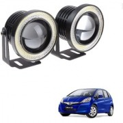 Auto Addict 3.5 High Power Led Projector Fog Light Cob with White Angel Eye Ring 15W Set of 2 For Honda Jazz