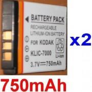 2 Batteries Pour KODAK KLIC7000 KLIC-7000 EasyShare LS755, EasyShare LS755 Zoom **750mAh**