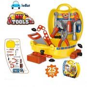 FunBlast® Tool Set Toys for Kids, (Set of 25 Pcs) Pretend PlaySet, Little Engineer Pretend Toolbox Construction Tools, Role Play Engineer Workshop Tool Kit