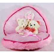 Cute Pink Convertible Chain Plush Heart with Love Couple Teddy Bears