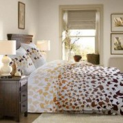 Lenjerie de pat Dormisete bumbac 100 Loving Matisse Bej pentru pat 2 persoane 4 piese 180x215 / 50x70 cearceaf pat uni Maro Inchis