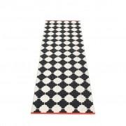pappelina Marre Outdoor-Teppich – schwarz / vanille mit korallroter Kante 70 x 225cm