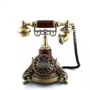 Telefon vintage pe suport din lemn cu frunze - functionabil
