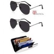 Ediotics Set of 2 Classic Black Aviator Style Designer Sunglasses for Men Alumi Wallet Combo