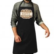 Bellatio Decorations De Beste Koffie keukenschort zwart heren - Feestschorten