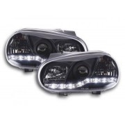 FK-Automotive fari Daylight a LED con DRL look VW Golf 4 tipo 1J anno di costr. 98-03 neri