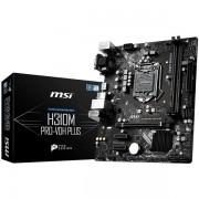 MSI Main Board Desktop H310 S1151v2, DDR4, USB3.1, USB2.0, SATA III, HDMI, DVI-D, VGA - Requires Processor Graphics, 8-Channel7.1, Realtek 8111H Gigabit LAN mATX Retail H310M_PRO-VDH_PLUS