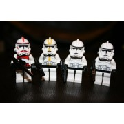 Lego Clone Trooper Minifigure Lot of 4 ~Star Wars Red Clone Trooper,(1) Yellow Clone Trooper and (2) White Clone Troopers Includes 1 Large Blaster Rifle and 3 Small Blasters