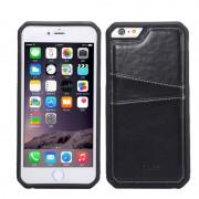 Силиконов гръб с кожа за Apple iPhone 6 / 6S Plus Черен