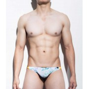 Mategear Rang Se Special Fabrics Series Abstract Ultra Sexy Maximizer Thong Underwear White/Blue/Turquoise 1091201