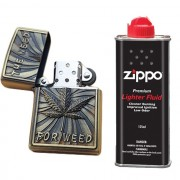 Bricheta tip zippo, 3D relief, metalica, the need for weed, lichid zippo 125 ml