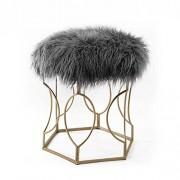 LY Taburete Peludo Metal Moda Maquillaje de Maquillaje Taburete Taburete Silla de Comedor Mesa de té (Color : Gris Oscuro)