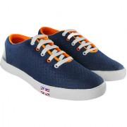 Blinder Men's Mesh Navy Blue Orange Casual Lace-up Sneakers Shoes