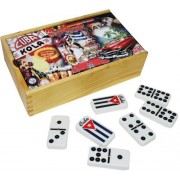 Dominoes Double Nine. Spinner Tiles With Engraved Cuban Flag. Retro Decorated Wood Box