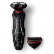 Aparat de ras 2 in 1 Click'n'Style Wet & Dry S728/17, acumulator autonomie 40 min, 2 accesorii, 2 capete, negru/rosu