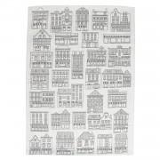 Dille&Kamille Torchon, coton, blanc/noir, façades