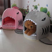 M Size Puppy Pet Cat Dog Shark Mouth House Warm Sleeping Bag Soft Bed Kennel Cushion
