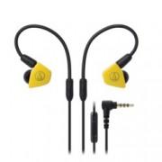 """Слушалки Audio-Technica ATH-LS50iS, тип """"тапи"""", микрофон, сваляеми накрайници, бързи бутони, жълти"""