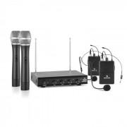Auna VHF-4-H-HS Juego de micrófonos inalámbricos VHF de 4 canales 2 micrófonos d
