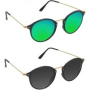 Stysol Oval Sunglasses(Black, Green)