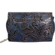 FT Women Evening/Party Blue Genuine Leather Wallet(8 Card Slots)