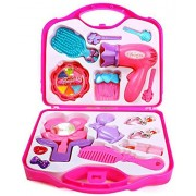 Fashion Girl Beauty Set Makeup Toy with Mirror Hairdryer & Styling Accessories, Pretend Play Kids (PINK)