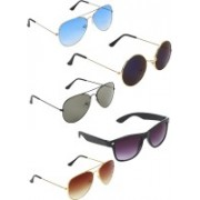 Zyaden Aviator, Aviator, Aviator, Wayfarer, Round Sunglasses(Blue, Green, Brown, Blue, Black)
