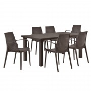 [casa.pro]® Vrtni stol sa 6 stolica sa naslonom za ruke- sa ratan efektom (smeđa)