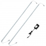 [in.tec] Tira de luz LED aluminio - 2 x 100cm - 14,4W - 60 SMD - blanca fría - con fuente de alimentación