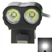 XP-G2 R5 2-LED 900LM 5-Mode lampara de luz blanca de la bici - Negro + Verde