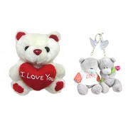 Tickles Tiny Teddy With Heart And Love Couple Teddy Key Rings Soft Toy (White)