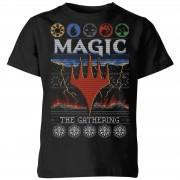 Magic: The Gathering Colours Of Magic Knit Kinder Kerst T-shirt - zwart - 9-10 Years - Zwart