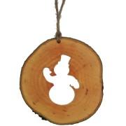 Decoratiune de craciun - Om de zapada din felie de lemn New Way Decor
