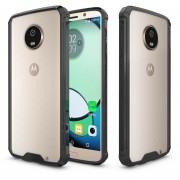Para Motorola Moto G6 Plus Acrilico + TPU Resistente Armadura Protectora Transparente Volver Funda (negro)