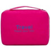 Kanha Travel Your Life! Womens Ladies Toiletry Storage Bag Hanging Folding Cosmetic Organizer Large Capability Pouch Pink(Pink)