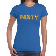 Bellatio Decorations Blauw Party goud fun t-shirt voor dames 2XL - Feestshirts