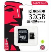 Card de memorie Kingston Canvas Select microSDHC, 32 GB, 80 MB/s Citire, 10 MB/s Scriere, Clasa 10 UHS-I + Adaptor SD