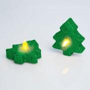 2 db Elemes csillámos karácsonyfa teamécses