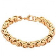 The Jewelbox 316L Stainless Steel Thick 3D Gold Plated Byzantine Men Bracelet