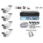 Kit videosorveglianza Telecamere HD 1200TVL DVR 4 canali + 160Gb + Cavo