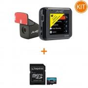 Kit Mio MiVue C380 Dual Camera auto DVR + Kingston 64GB microSDXC Canvas Go Plus