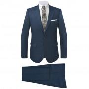 vidaXL kétrészes kockás férfiöltöny kék 52-es méret