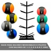 Rack Y Balones Medicinales Con Rebote 1-2-3-4-5-6-8-10kg