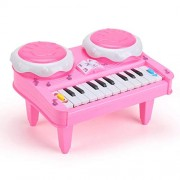 HATCHMATIC Children' s Electronic Keyboard Toy Mini 3D Colorful Lighting Music Girl' s Piano Early Education Toys Puzzle Piano for Kids New: China, Pink